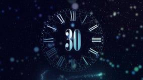 nytt år för nedräkning 2D animering som räknar minuter på en klocka Rotera blått Magisk animering för ditt huvudsakliga parti av arkivfilmer