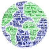 nytt år för olika lyckliga språk royaltyfri illustrationer