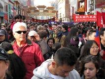 nytt år för stor kinesisk folkmassafestival Arkivbilder