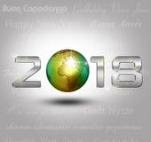 Nytt år 2018 för världsjordklot Arkivbild