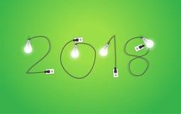 Nytt år för vektor 2018 med idérik idé för ljus kula stock illustrationer