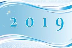 Nytt år 2019 Festligt baner med ett datum på en blå bakgrund vektor illustrationer