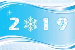 Nytt år 2019 Festligt baner med ett datum på en blå bakgrund royaltyfri illustrationer