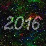 Nytt år 2016 gjorde av stjärnor i färgrikt universum seamless illustrationrep Arkivfoto