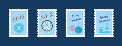 Nytt år & glad julstolpestämpel Arkivbild