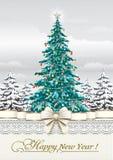 Nytt år 2019 Hälsningkort med en julgran stock illustrationer