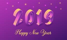 Nytt år 2019 i isometrisk stil vektor Fotografering för Bildbyråer