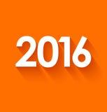 Nytt år 2016 i plan stil på orange bakgrund Royaltyfri Fotografi