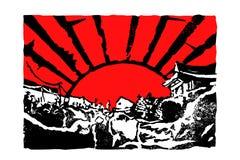Nytt år Japan som inristar soluppgångvektorn Art Print vektor illustrationer
