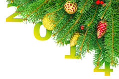 Nytt år julgran med leksaker som isoleras på en vit bakgrund Fotografering för Bildbyråer