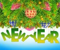 Nytt år julgranleksaker på en blå bakgrund. Royaltyfri Bild