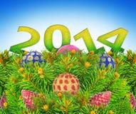 Nytt år julgranleksaker på en blå bakgrund. Arkivfoton