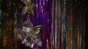 nytt år Julsammansättning av mandariner, julgranfilialer och ängeln lager videofilmer