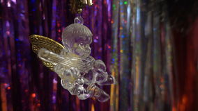 nytt år Julsammansättning av mandariner, julgranfilialer och ängeln arkivfilmer