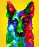 Nytt år 2018 Kinesiskt nytt år av hunden Herde på en gul bakgrund royaltyfri illustrationer