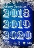 Nytt år, 2019, kritabräde, hand-dragen jul 2019, snöflingor, juletikett och lyckligt nytt år, vektor 2018 nya år på I Royaltyfri Fotografi