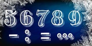 Nytt år, 2019, kritabräde, hand-dragen jul 2019, snöflingor, juletikett och lyckligt nytt år, vektor 2018 nya år på I Fotografering för Bildbyråer