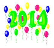 Nytt år 2014 med ballonger. Royaltyfri Foto