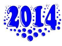 Nytt år 2014 med blåa bubblor. Arkivbilder