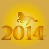 Nytt år med hästkonturn Royaltyfri Bild