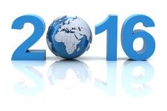Nytt år 2016 med jordklotet Arkivfoton