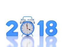 Nytt år 2018 med klockan Arkivfoton