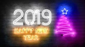 Nytt år 2019 Neonformer med ljus royaltyfri fotografi