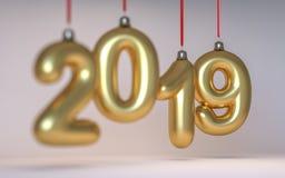 Nytt år nummer 2019 i form av julgranleksaker som göras av exponeringsglas och djup av fältet 3d framför arkivbild