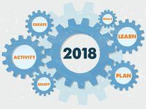 Nytt år 2018 och affärsbefruktningord i information om grungekugghjul stock illustrationer