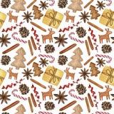 Nytt år och dekorativa beståndsdelar för jul - akvarell Hand-dragen illustration, sömlös modell vektor illustrationer