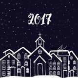 Nytt år och julkort med hus i vektor stock illustrationer