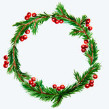 Nytt år och julkrans - granträd och mistel på vit royaltyfri fotografi