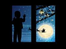 Nytt år och Santa Claus på hjortar in vektor illustrationer