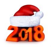 Nytt år 2018 och santa lock Arkivbild