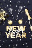 nytt år Orientering med champagneexponeringsglas, flaskan, guld- bollar, konfettier, gåvan, lampor och bokstäver för nytt år stock illustrationer