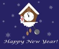 Nytt år på den blåa bakgrund, klockan och snögubben Arkivfoton