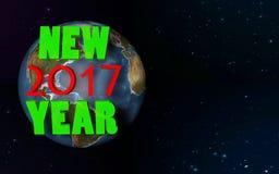 Nytt 2017 år på planet 1 Arkivbild