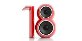 Nytt år 2018 Röda 18 med två högtalare som isoleras på vit bakgrund illustration 3d Vektor Illustrationer