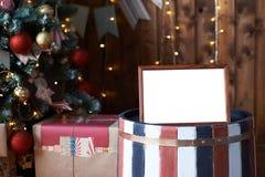 nytt år Ram gåva Inre jul jul min version för portföljtreevektor Royaltyfria Bilder