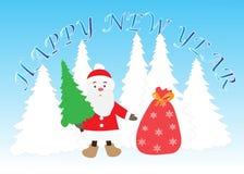 Nytt år Santa Claus med julgranen och en påse av gåvor Royaltyfri Bild