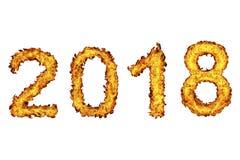 Nytt år 2018 som göras från brandflamman royaltyfri illustrationer