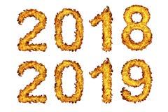 Nytt år 2018 - 2019 som göras från brandflamman royaltyfri illustrationer