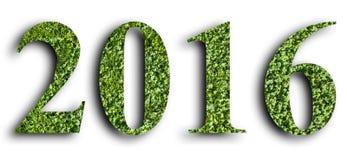 2016 nytt år som göras från det gröna gräset som isoleras på vit bakgrund royaltyfria bilder