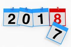 Nytt 2018 år startbegrepp Kalenderark med 2018 nya år Arkivbilder