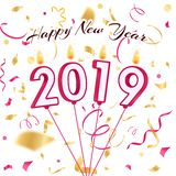 Nytt år 2019 stearinljus av konfettier stock illustrationer