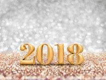Nytt år 2018 tolkning för nummer 3d för år guld- på den mousserande golen stock illustrationer