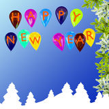 Nytt års festliga bakgrund med ballonger royaltyfri illustrationer