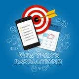 Nytt års kalender för lista för uppgift för mål för lägenhet för vektor för upplösningsillustration stock illustrationer