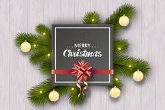 Nytt års lyckönsknings- uppsättning på en vit trävägg Trädfilialer, guld- bollar, rött band med en pilbåge vektor illustrationer