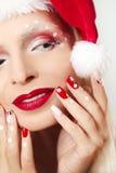 Nytt års manikyr och makeup Royaltyfria Bilder